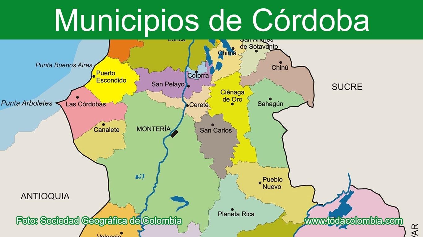 Municipios De Cordoba Division Politica Departamento De Cordoba